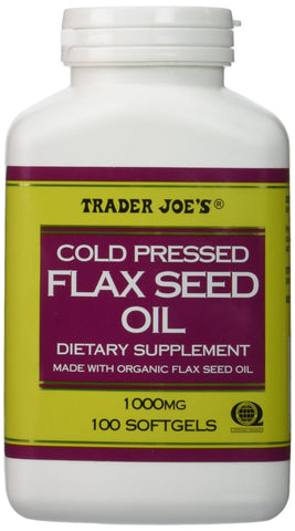 Trader Joe's Cold Pressed Flax Seed Oil Dietary Supplement Made with Organic Flaxseed Oil 1000 Mg / 100 Softgels No Gluten Ingredients Used Many Health Benefits !!!!!