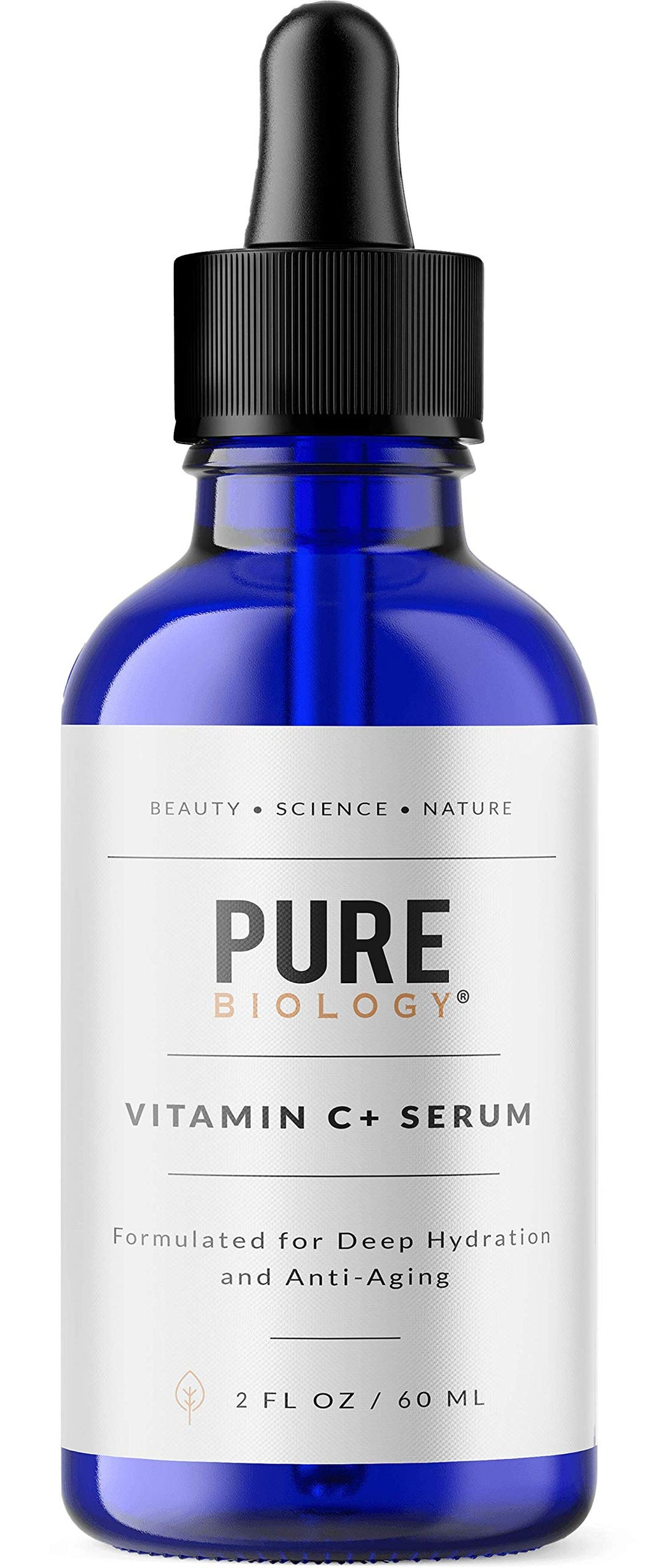 Pure Biology Premium Vitamin C Serum for Face with Hyaluronic Acid & Vitamin E, Brightening Antioxidant Serum for Face, Acne and Dark Spot Corrector, Skin Care for Men & Women (2 oz) 2 Ounce