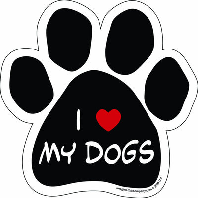 Imagine This Paw Car Magnet, I Love My Dogs, 5-1/2-Inch by 5-1/2-Inch 5.5 IN