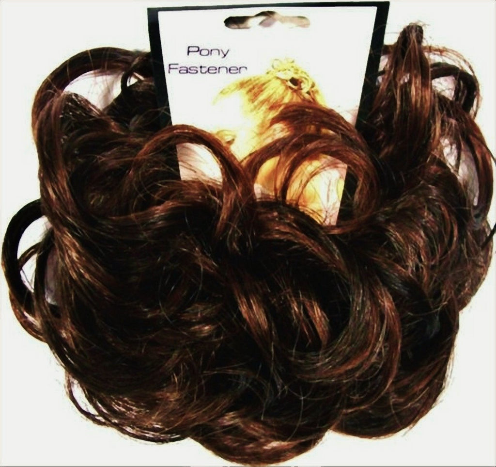LACEY 3 inch Pony Fastener Hair Scrunchie - 4-30 Dark Brown-Auburn
