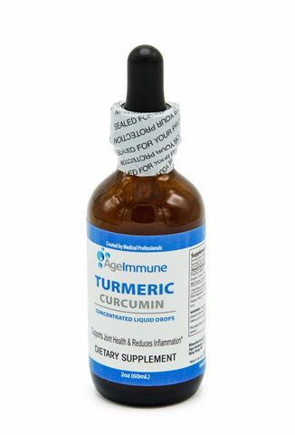 Organic Turmeric Curcumin Anti-Inflammatory Premium Herbal Supplement Extract with Black Pepper as Bioperine Liquid Drops for Pain Relief (2 oz) by Age Immune