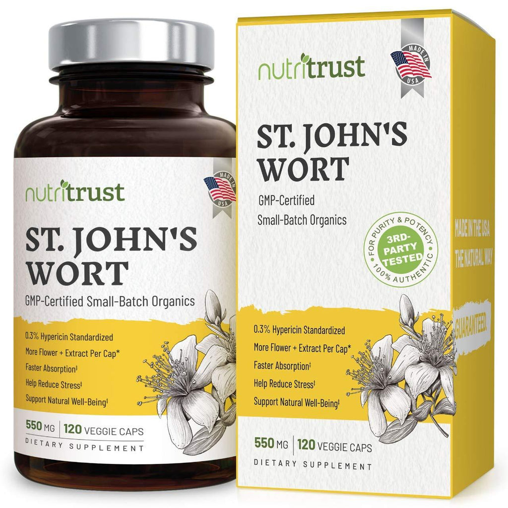 #1 Best St Johns Wort – Stronger 120 Ct 1200mcg Hypericin + 550mg Pure Vegan Saint Johns Wort Capsules with Extract and Powder for Potent Non-GMO Mood Boosting