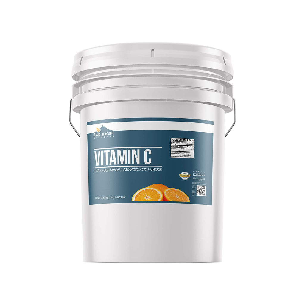 Vitamin C Powder (L-Ascorbic Acid) (5 Gallon) by Earthborn Elements, Resealable Bucket, Antioxidant, Boost Immune System, DIY Skin Care, Satisfaction Guaranteed