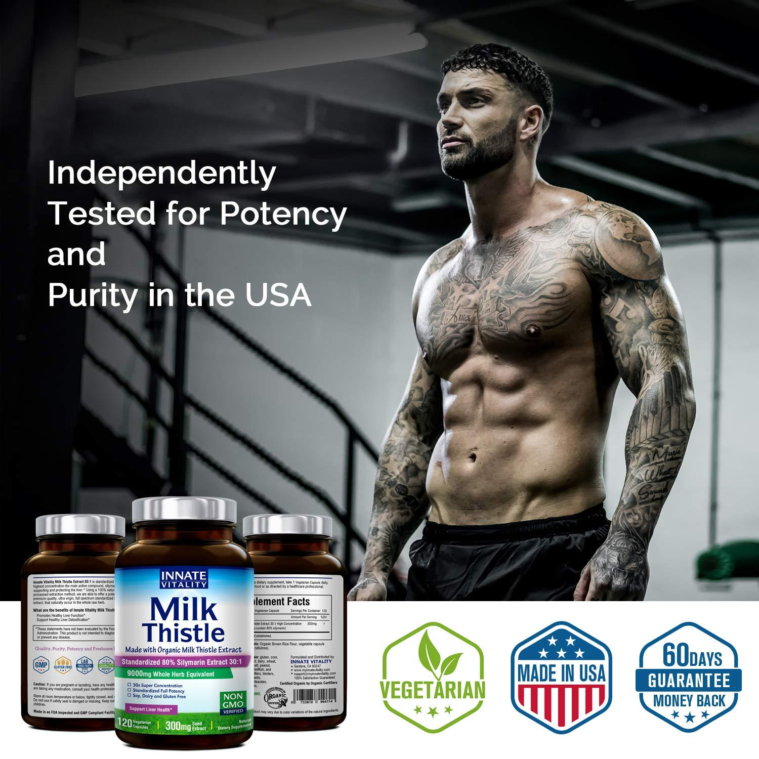 Organic Milk Thistle Extract, Standardized 80% Silymarin Flavonoids, 30:1 Highest Concentration, 9000mg Equivalent, 300mg per Caps, 120 Veggie Caps, Non-GMO,Gluten Dairy & Soy Free, Support Liver Heal
