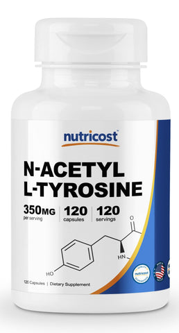 Nutricost N-Acetyl L-Tyrosine (NALT) 350mg, 120 Capsules - Gluten Free, Non-GMO 120 Caps
