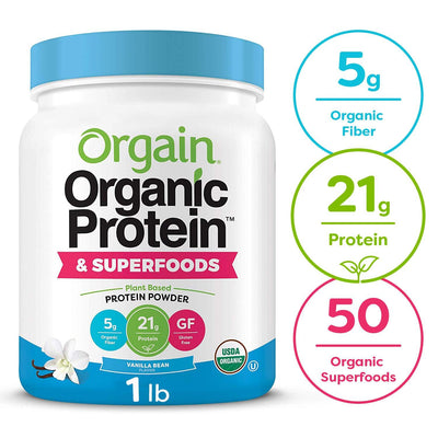 Orgain Organic Plant Based Protein + Superfoods Powder, Vanilla Bean - Vegan, Non Dairy, Lactose Free, No Sugar Added, Gluten Free, Soy Free, Non-GMO, 1.12 lb 1 Pound