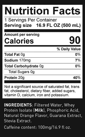 BiPro Protein Water +Caffeine, Orange, 16.9 Ounce (Pack of 12)