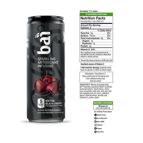 Bai Bubbles, Sparkling Water, Bolivia Black Cherry, Antioxidant Infused Drinks, 11.5  Fl. Oz Cans, 12 count Pack of 12