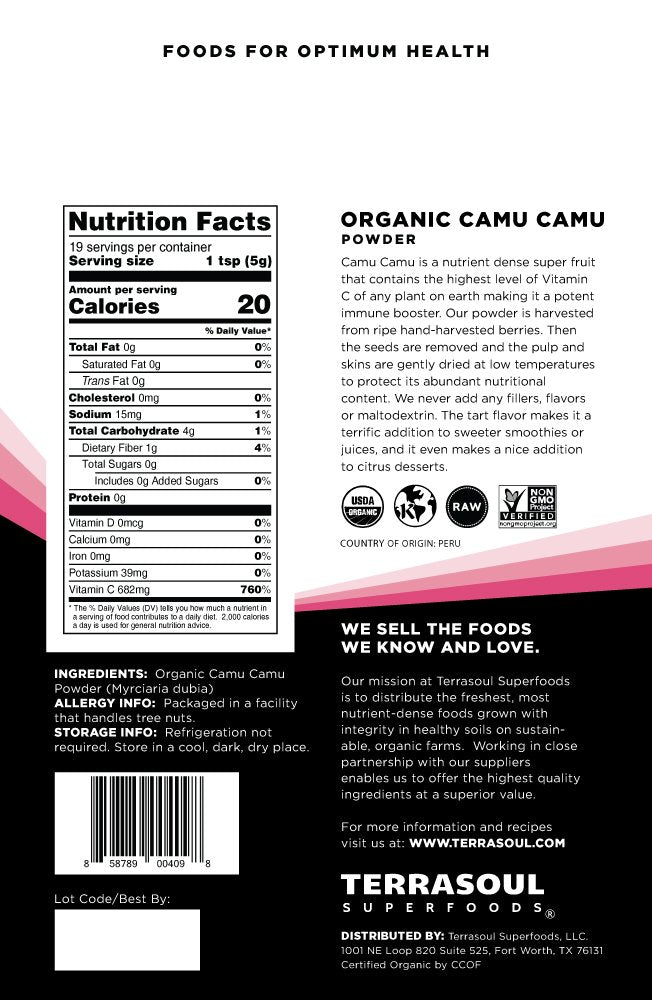 Terrasoul Superfoods Raw Camu Camu Powder (Organic), 7-ounce 7 Ounce