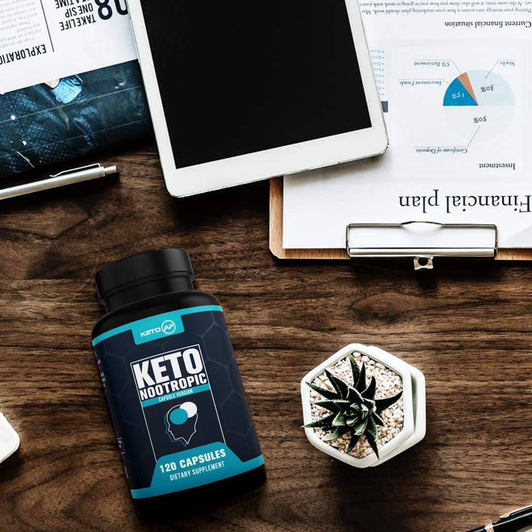 Keto Nootropic - Keto AF Brain Support Supplement | Energy, Memory and Focus - MCT, Coconut Oil, Caffeine, Rhodiola Rosea and More