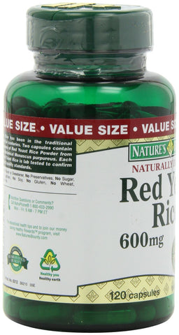 Nature's Bounty Red Yeast Rice Pills and Herbal Health Supplement, Dietary Additive, 600mg, 120 Capsules 120 Counts