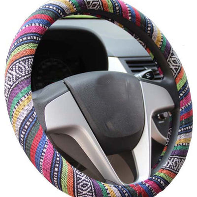Mayco Bell 2016 Ethnic Style Coarse Flax Cloth Automotive Steering Wheel Cover Anti Slip and Sweat Absorption Auto Car Wrap Cover (B) B