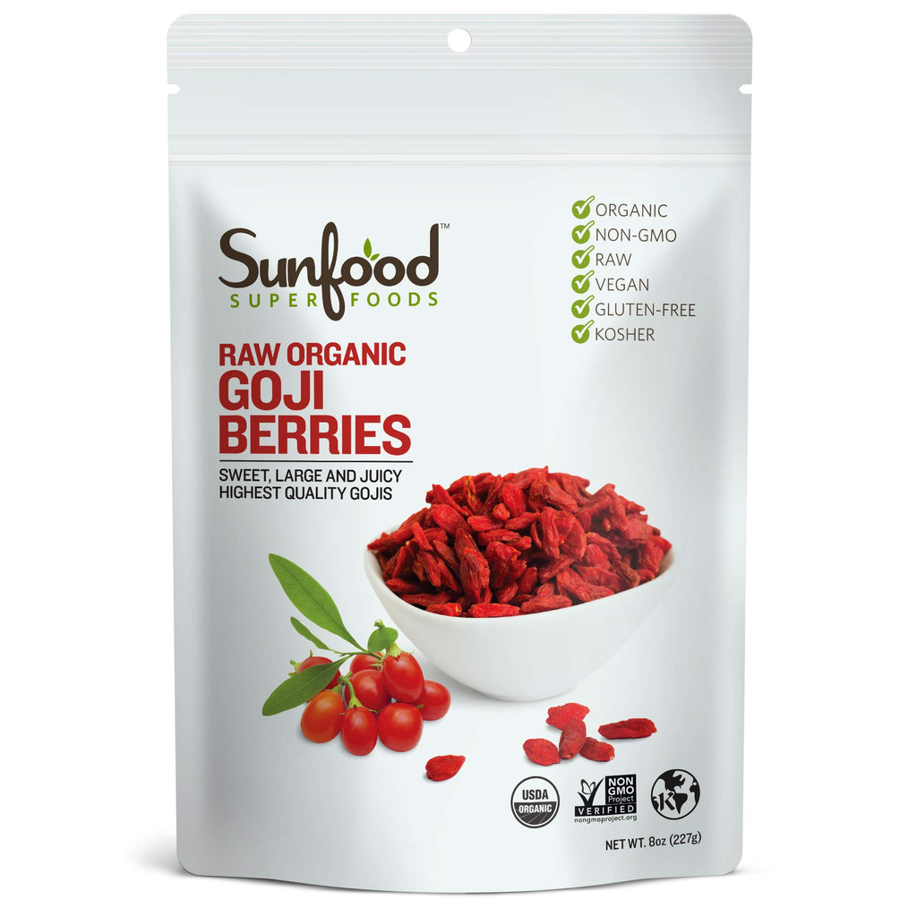 Sunfood Superfoods Goji Berries, Raw Organic. 8 oz Bag 8 Ounce