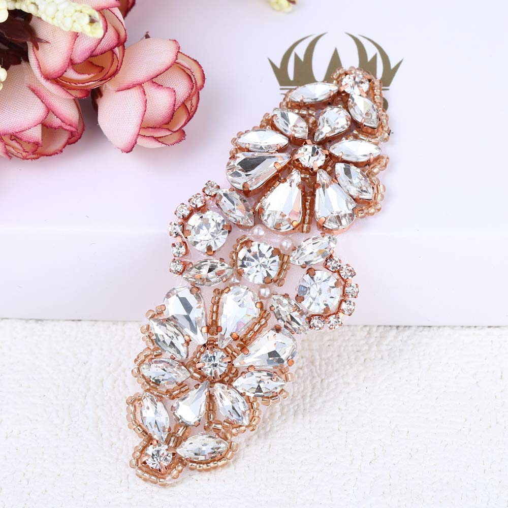 FANGZHIDI Handmade Rose Gold Rhinestone appliqué for Wedding Dress,Beaded Applique Decorative Patches with Sew on Crystals Beads Pearls Embellishment for Bridal Sash Hairpieces Garter Christmas DIY Hra-005-3