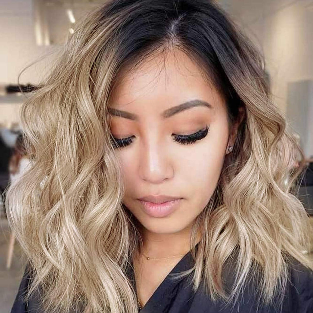 K'ryssma Ombre Blonde Lace Front Wigs for Women Short Wavy Synthetic Wig Heat Resistant Ombre Bob Wig with Dark Roots