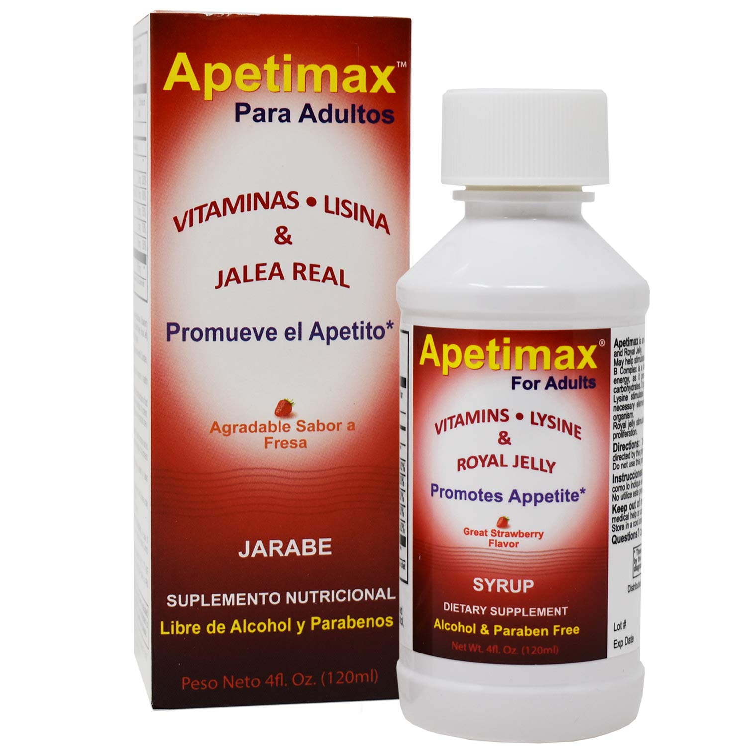 Apetimax Vitamins Lysine Royal Jelly Promotes Appetite Syrup for Adults 4 oz