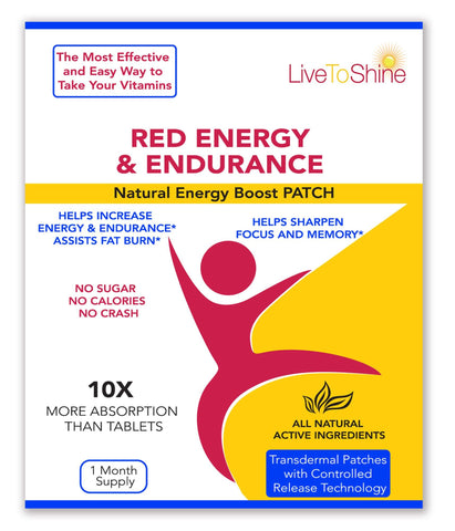 LLT Red Energy & Endurance Patch - Natural Energy - USA Made - 30 Patches