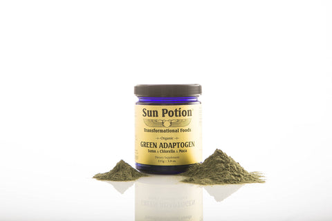 Green Adaptogen Powder by Sun Potion - Organic Chlorella, Maca, and Suma Blend - Vegan Superfood and Health Supplement - Boost Energy, Strengthen Immune System - 111g Jar of Goodness