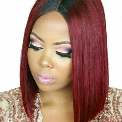 Synthetic 2 Tone 1B 99J Straight Hair Ombre Bob Wig Natural Black Root To Wine Red Cosplay Hair Wigs For Women
