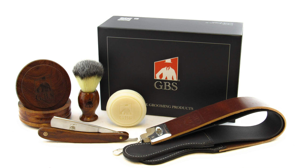 "GBS Shave Ready Professional Wood Shaving Set- Gift Boxed, Wood Shave Soap Bowl, 5/8"" Carbon Steel Wood Handle Scales Straight Razor, Badger Hair Shave Brush with Leather Strop Ultimate Gift for Men!"
