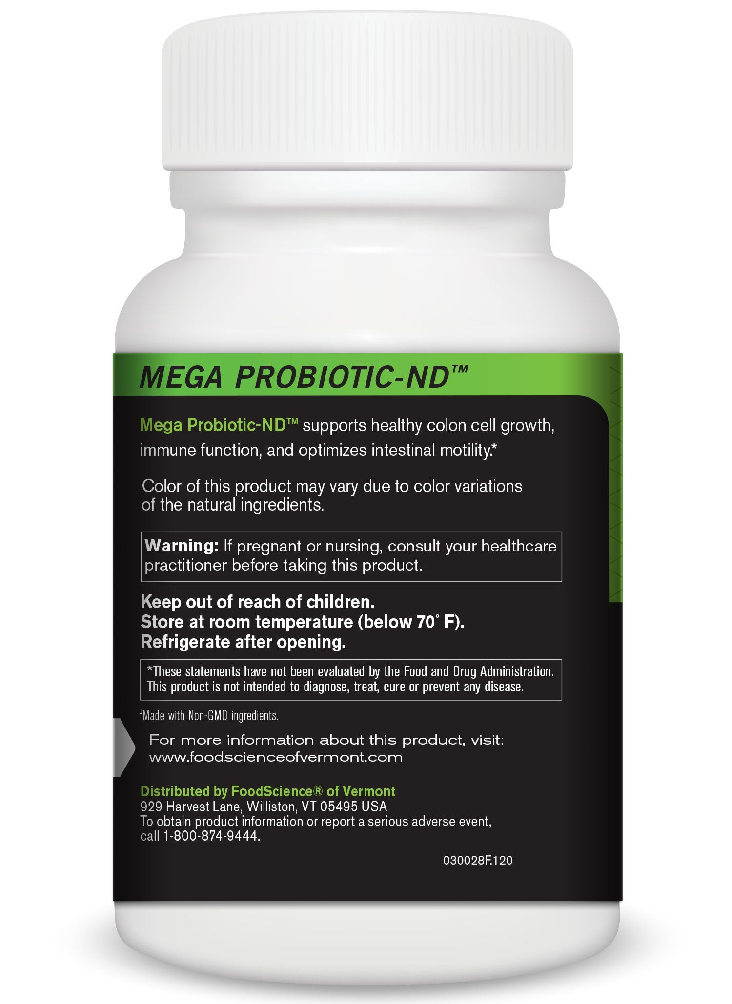 FoodScience of Vermont Mega Probiotic-ND, Digestive Health Supplement, 120 Capsules