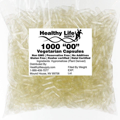 "Empty Vegetarian Capsules - 1000 Size""00"" Bulk Wholesale"