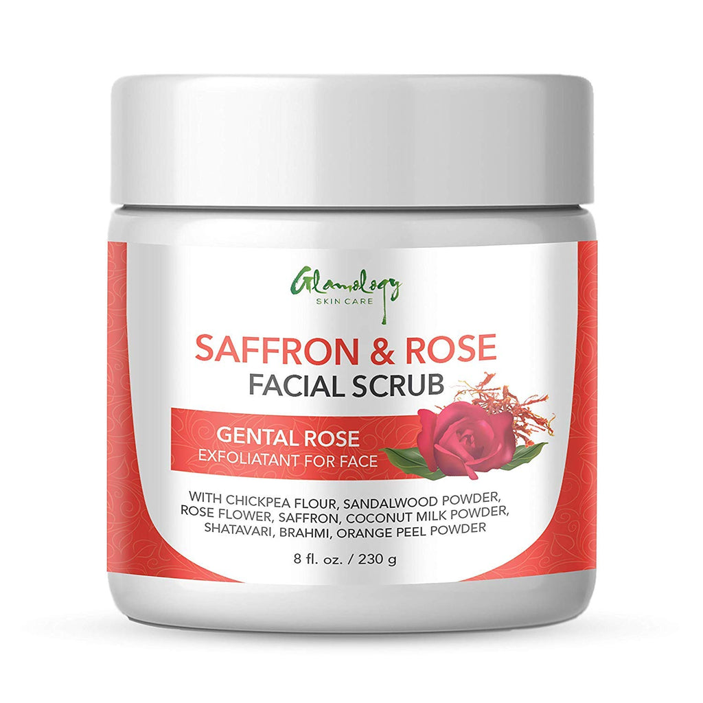 Gentle Rose Chickpea Sandalwood Turmeric Facial Scrub, Handmade, Exfoliant with Saffron, Sandalwood, Coconut Brahmi and other Herbs, with Guaranteed Results