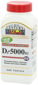 21st Century D3 5000 IU Tablets, 360 Count