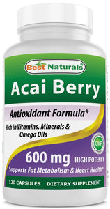 #1 Acai Berry 600mg per Serving by Best Naturals -- 100% Pure High Potency -- Supports Fat Metabolism -- Manufactured in a USA Based GMP Certified Facility and Third Party Tested for Purity. Guaranteed!! (120 Caps)
