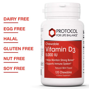 Protocol For Life Balance - Vitamin D3 5,000 IU (Chewable) - Helps Maintain Strong Bones, Supports Immune Systems and Healthy Blood Levels - Natural Mint Flavor - 120 Chewable Tablets