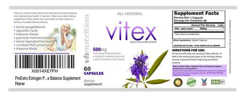 VH Nutrition Vitex - Chaste Tree Berry Supplement Formula - 30 Day Supply - 60 Capsules