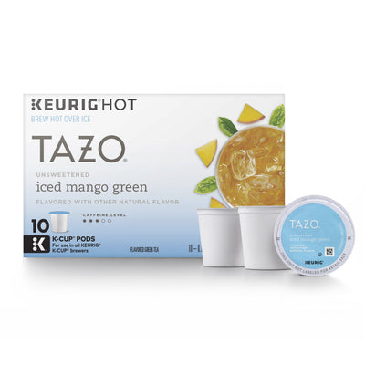 Tazo Unsweetened Iced Mango Green Tea K-Cup, 10 ct (Pack of 6)