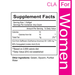 CLA for Women, Non-GMO Conjugated Linoleic Acid Derived from Safflower for Weight Loss and Exercise Support, 1000mg, Made in USA - 60 Capsules