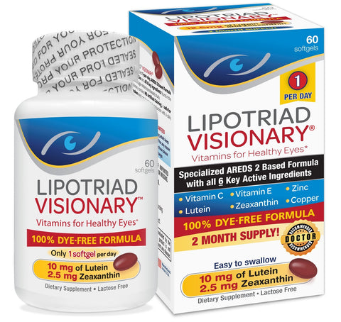 Lipotriad Visionary AREDS2 Based Eye Vitamin and Mineral Supplement - Includes all 6 key ingredients in the AREDS 2 Study - 2 Mo Supply, 1 Per Day, Dye Free, Safe for smokers- 60 Softgels 1 pk (60ct)