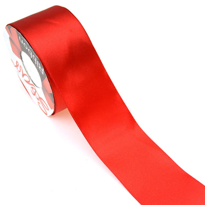 Star Quality 2 Inch Wide Satin Ribbon by 25 Yard Spool| Polyester Ribbon for Floral Arrangement, Wedding Bouquet, and Big DIY Artwork Projects | No Fading Woven Ribbon (2 Inch Width, Christmas Red) 2 Inch Width