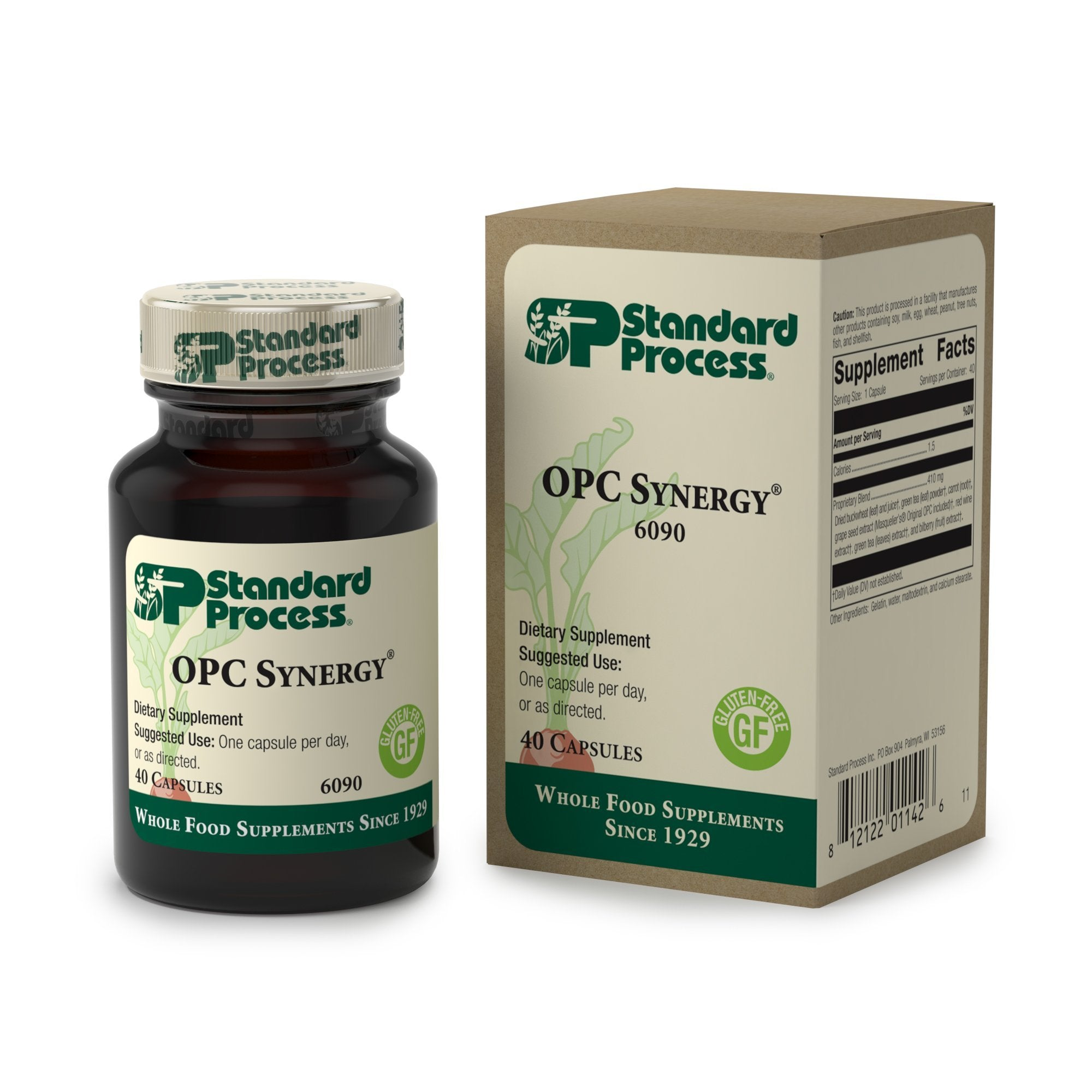 Standard Process - OPC Synergy - Provides Ingredients with Antioxidant Activity, Supports Eye Health, Cognitive Function, and Normal Cell Function, Gluten Free - 40 Capsules