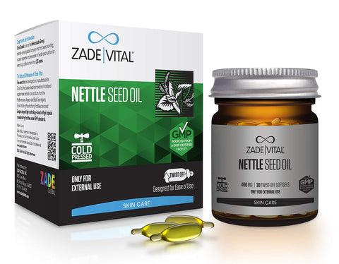 Zade Vital Nettle Seed Oil Balances Skin Oils & DIY Makeup Cosmeceuticals in Twist-Off 30 Softgels, Easy to Use, 100% Cold Press, Non GMO, GMP, 1 Month Supply