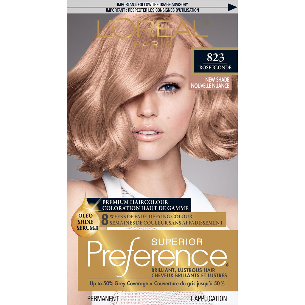 L'OrÃal Paris Superior Preference Fade-Defying + Shine Permanent Hair Color, 8RB Medium Rose Blonde, Hair Dye Kit (Pack of 1) Pack of 1