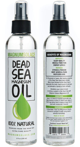 Magnesium Oil Spray 100% Pure From the Dead Sea - Large 8 oz Bottle LASTS SIX MONTHS - Made in USA - Exceptional #1 Therapeutic Source For Magnesium Chloride 8 Fl. Oz