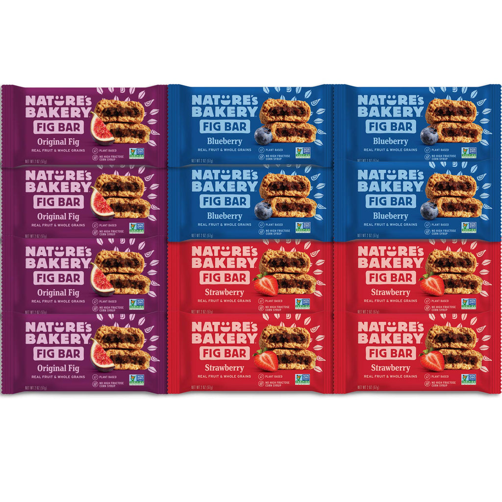 Nature's Bakery Stone Ground Whole Wheat Fig Bar (12 COUNT) Variety Pack Sampler, All Natural NON GMO Snack Food come in Elegant Sweet Choice Gift Box