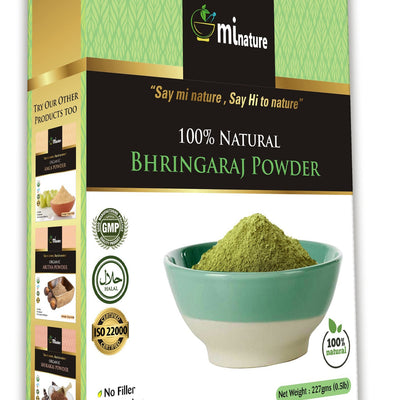 mi nature Bhringaraj Powder, Eclipta alba Leaf Powder / 100% Pure, Natural and Organic for Hair Care, Conditioning / (227g / (1/2 lb) / 8 Ounces)