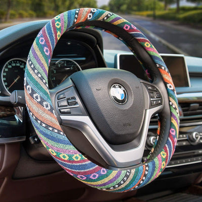 Valleycomfy Boho Universal 15 inch Steering Wheel Covers with Cloth for Women 2-ClothA