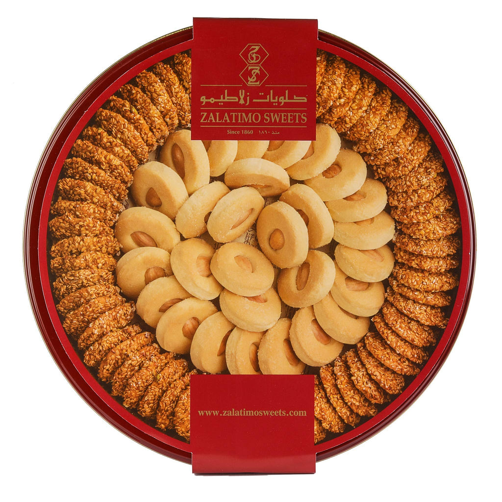 Zalatimo Sweets Since 1860, 100% All-Natural Sesame & Butter Shortbread Biscuits, Slightly Sweet Round Gift Tin, No Preservatives, No Additives, 1.65 LB