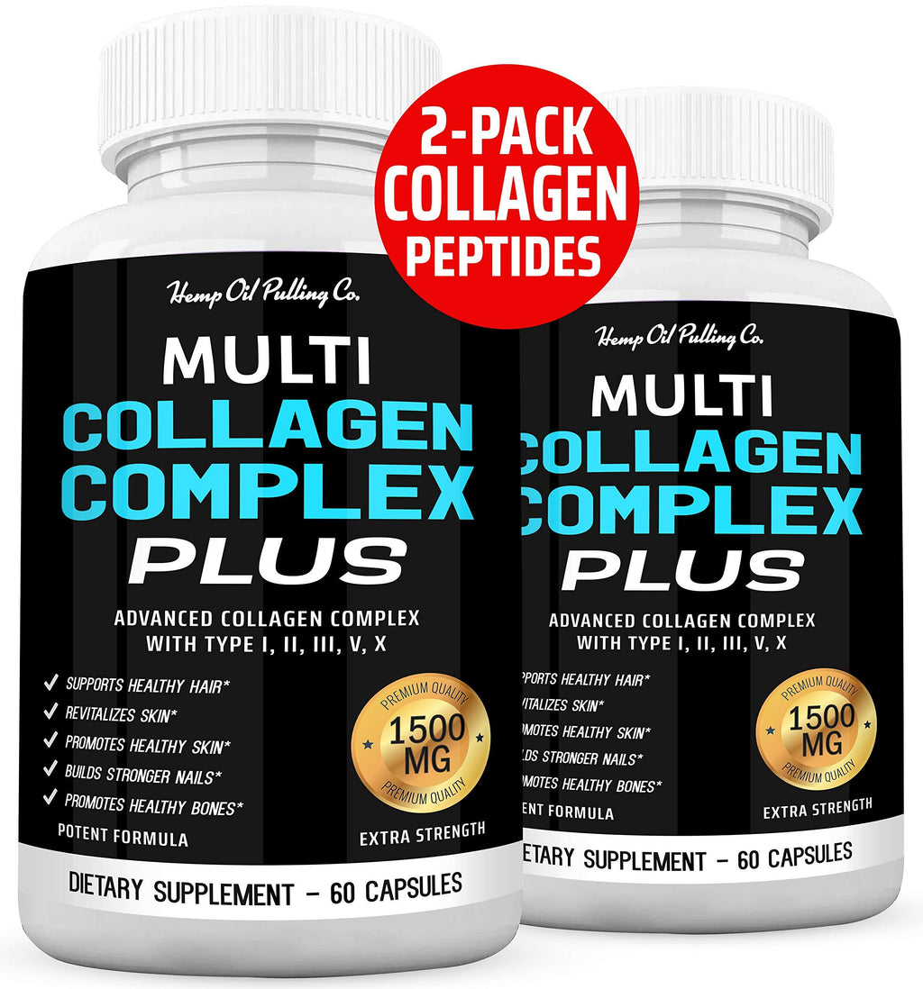 (2-Pack) Ultra Fast Collagen Pills for Women & Men 1500mg Collagen Complex Contains Collagen Peptides for Anti Aging Hair Skin Nails and Joint Support with Hydrolyzed Marine Collagen Bovine Collagen