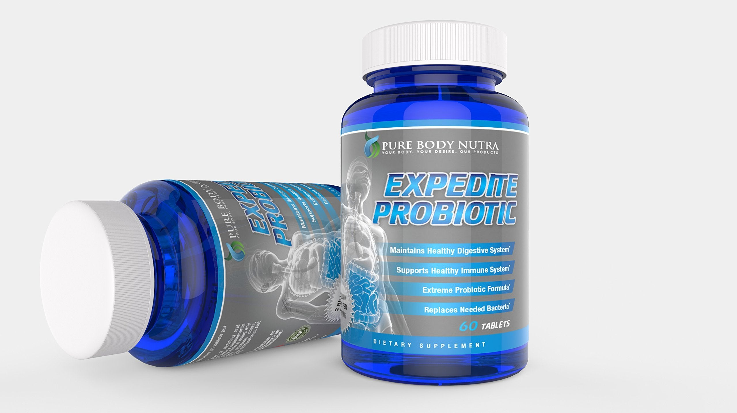 #1 Extreme Strength Probiotic Supplement - All Natural Probiotic Formula Promotes Optimal Health for adults of all ages. Safe Formula with Unique Is-2 , Nutra Flora P-95 and Billions of Live Cultures and Intestinal Flora in Every Serving. Pure Body Nut...