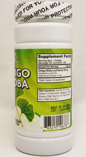 NU-Health Ginkgo Biloba 60 Mg 200 Softgels