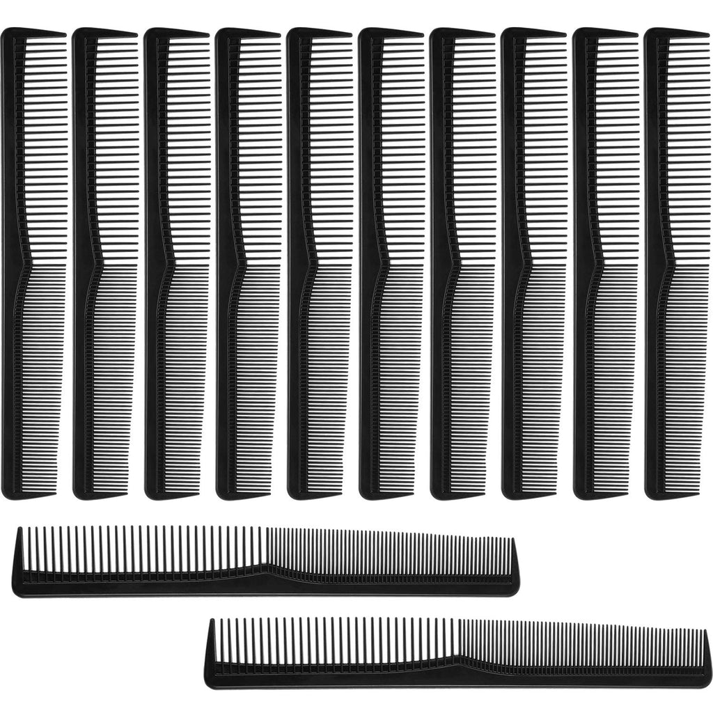 12 Pieces Hair Comb Black Plastic Hairdressing Styling Combs, Fine Tooth Cutting Comb for Salon or Hotel Hair Care, Salon Hairdressing Hair Care Tools