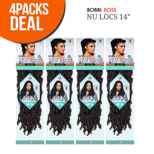 "Bobbi Boss Synthetic Hair Crochet Braids African Roots Braid Collection Nu Locs 14"" (4-PACK, M1B/27) 4-PACK"