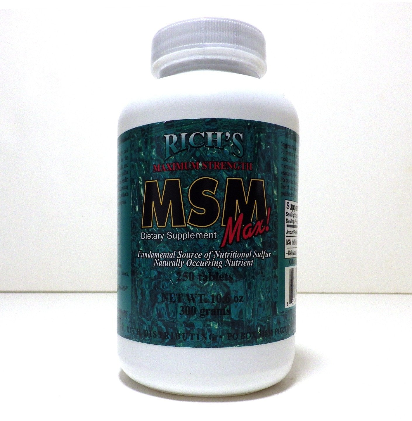 Rich's Maximum Strength MSM Max (250 Ct) 250 Count