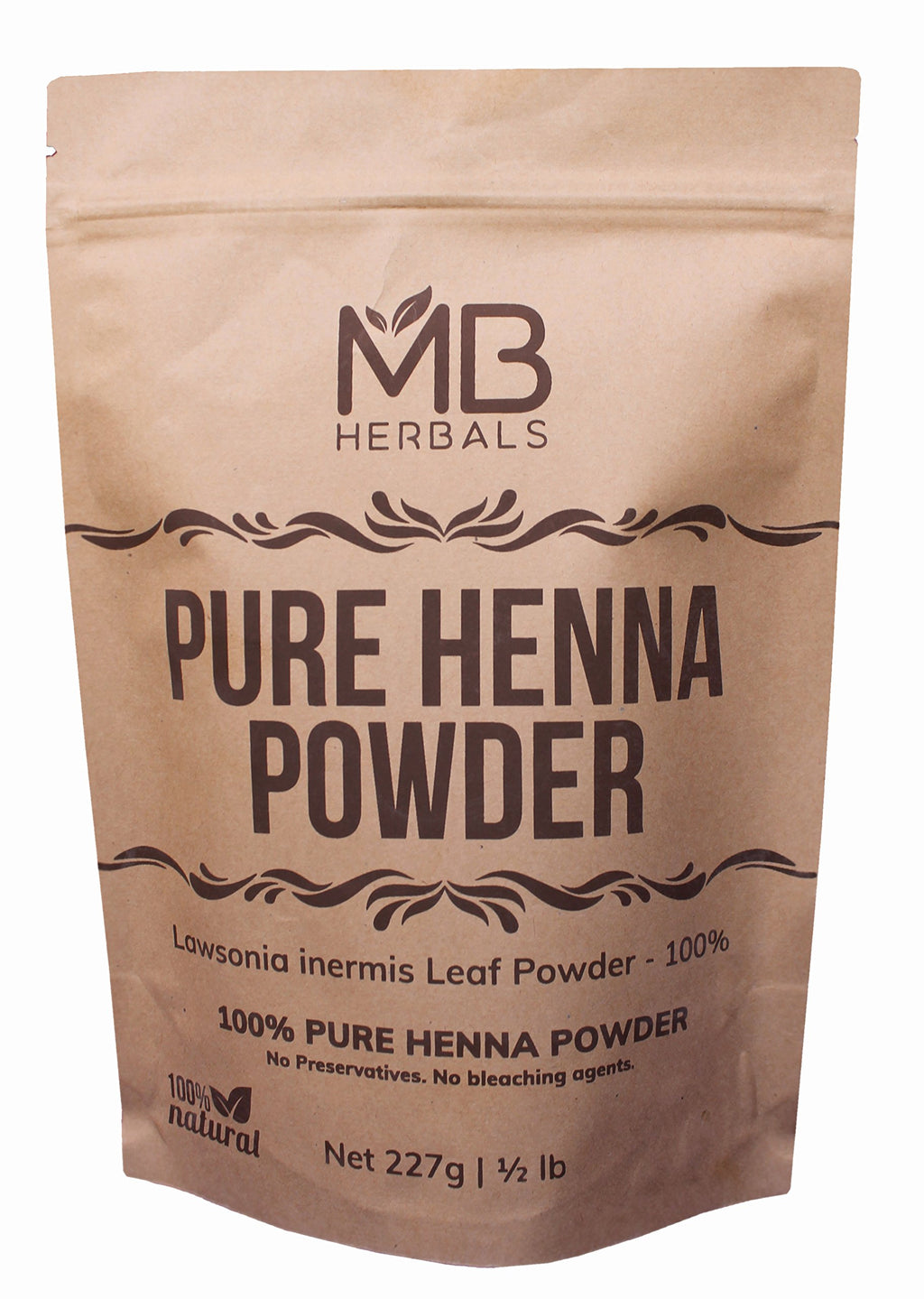 MB Herbals Henna Powder 454 Gram | One Pound | For Natural Hair Color | Triple Sifted | Raw | Non-Radiated |100% Natural - Nothing Added or Removed